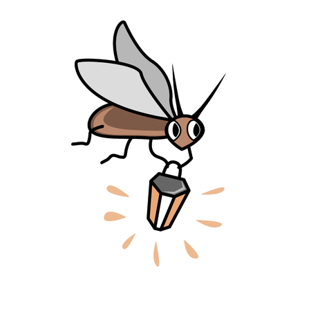 Cute cartoon firefly with flashlight. Character vector Illustration