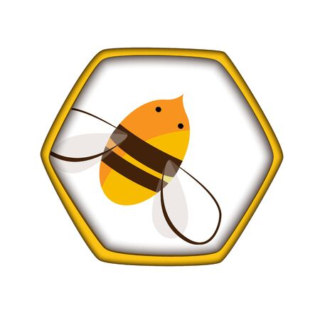 Honey comb icon with bee. Carving style, beekeepink. Vector illustration for Honey production packaging