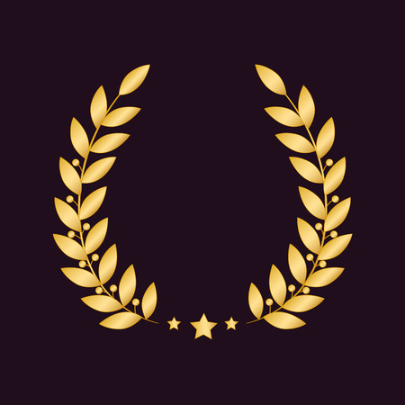 Golden laurel wreath with a star isolated on dark background. Vector design element. Illustration