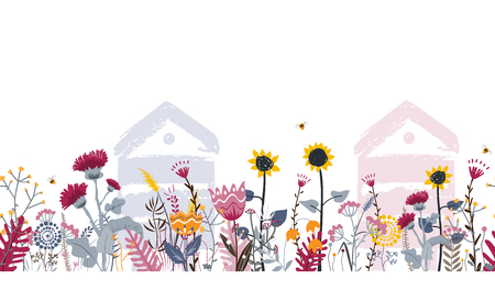 Bright seamless meadow border with beehives, bees, and flowers. Vector. Apiary concept. Doodle rural flowers and herbs. Sunny country day illustration for beekeeping and cards design. Ilustração