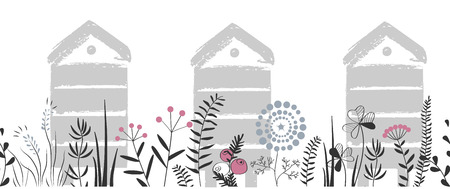 Vector nature seamless background with hand drawn wild herbs, flowers and leaves on white. Doodle style cartoon floral illustration. Vector border Ilustração