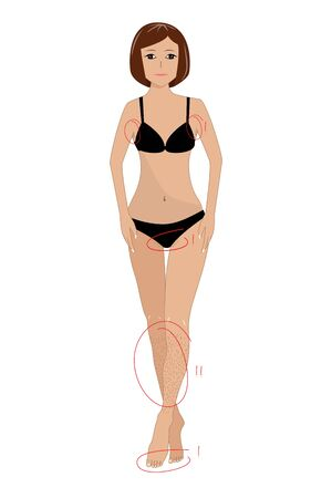 Flat vector illustration of a beautiful young woman with slim healthy body in underwear Illustration