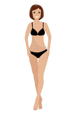 Flat vector illustration of a beautiful young woman with slim healthy body in underwear  イラスト・ベクター素材