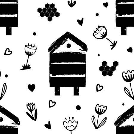 Vector nature seamless background with flowers, beehives, and honey combs. Doodle style cartoon floral illustration.