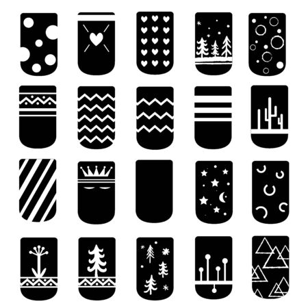 Simple but cute ideas for nail art design. Vector. Black and white palette, the colors could be inversed or changed. Templates for manicure, pedicure, beauty salons. Fashion trends.