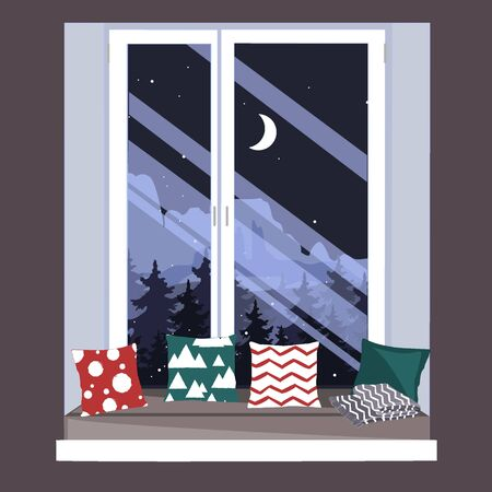 The sofa on the window sill. Window seat. Hand-drawn vector illustration in scandinavian hygge style. Interior design. Illustration
