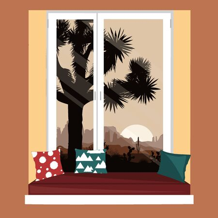 The sofa on the window sill with the mountains desert view. Morning landscape with Joshua tree and mountains over sunrise. Vector illustration.