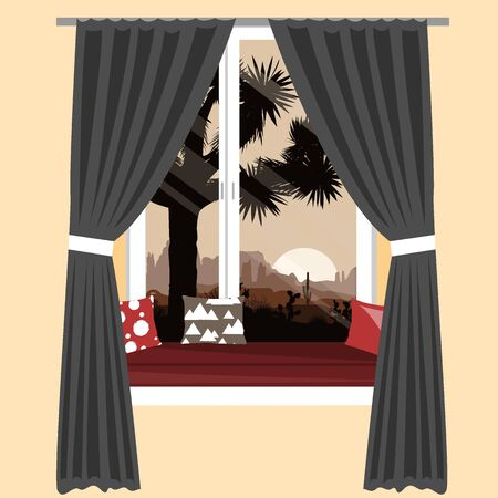 The cozy sofa on the window sill with the beautiful mountains desert view. Vector illustration, interior design element.