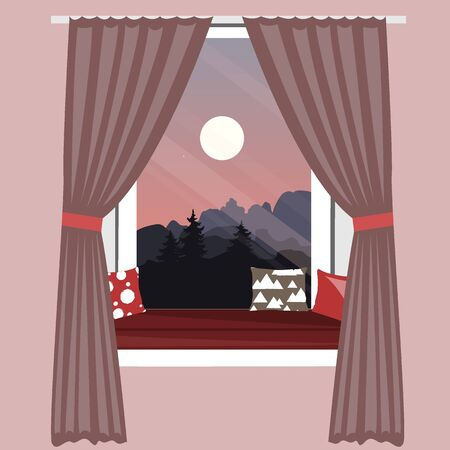 The sofa on the window sill. Window seat with beautiful mountains landscape view. Hand-drawn vector illustration in scandinavian hygge style