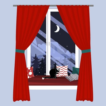 The sofa on the window sill. Christmas Window seat with a cat and beautiful mountains landscape view. Hand-drawn vector illustration in scandinavian hygge style
