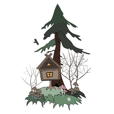 Hut on Chicken Legs Goes in the Foggy Swamp Forest. Cartoon isolated vector illustration. The House of the Slavic Tales. Stock Illustratie