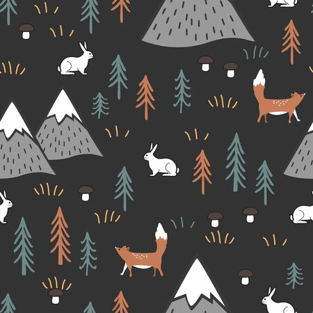 Scandinavian cartoon seamless pattern with hares, foxes trees, mushrooms, and mountains. Cute background for kids, fabric, clothes design, bed linen, wallpapers. Illustration