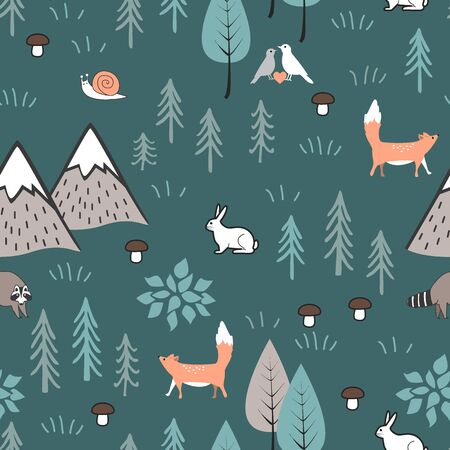 Scandinavian cartoon seamless pattern with hares, foxes trees, mushrooms, and mountains. Cute background for kids, fabric, clothes design, bed linen, wallpaper, scrapbooking