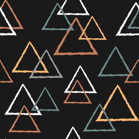 Abstract seamless pattern with triangles in pastel colors on dark background  イラスト・ベクター素材