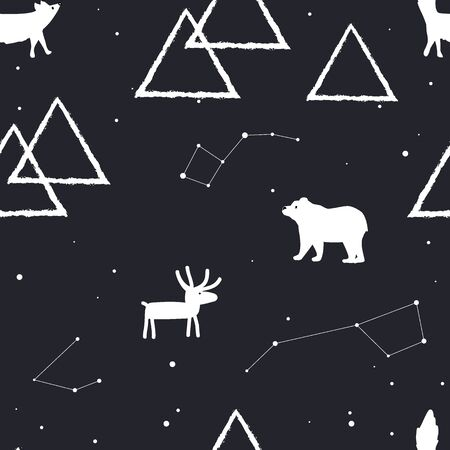 Vector seamless pattern with stars, mountains and arctic animals Illustration