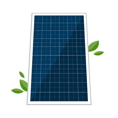 Solar panel and abstract green laves. Vector concept design of green alternative renewable energy source, electricity technologies