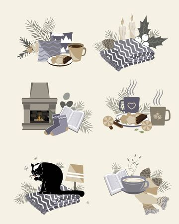 Cute vector illustration of autumn and winter hygge elements compositions isolated on white background. Templates for stickers, cards, scrapbooking, planners, notebooks, clothing. Trendy Scandinavian