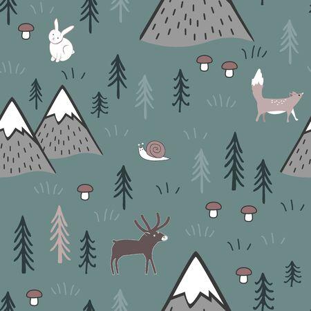 Modèle sans couture de dessin animé scandinave avec des animaux, des arbres, des champignons et des montagnes. Fond mignon pour les enfants, tissu, conception de vêtements, linge de lit, papier peint, scrapbooking