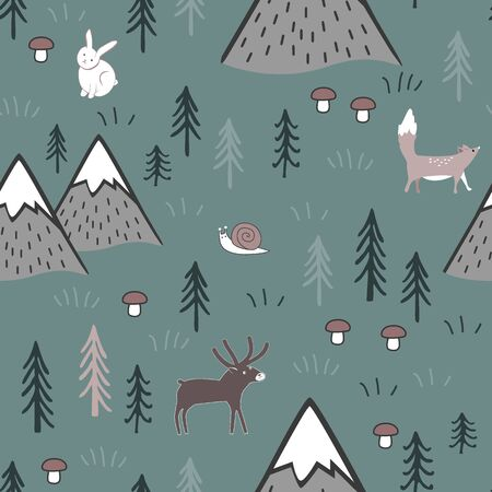 Scandinavian cartoon seamless pattern with animals, trees, mushrooms, and mountains. Cute background for kids, fabric, clothes design, bed linen, wallpaper, scrapbooking