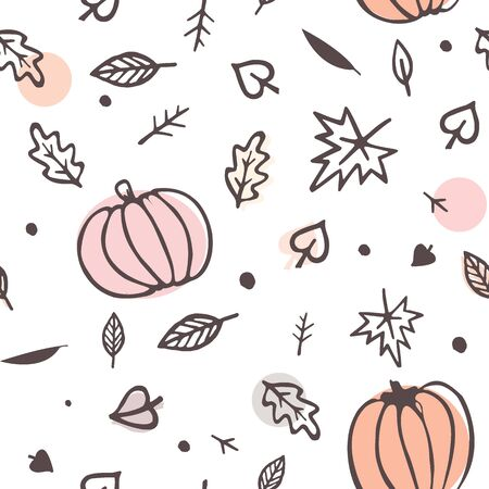 Autumn seamless pattern yellow and green fall leaves and pumpkins. Doodle vector ornament isolated on white background.