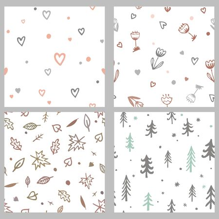 Vector set with cute doodle seamless patterns. Cartoon hand drawn leaves, trees, flowers, and hearts. Simple but trendy backgrounds