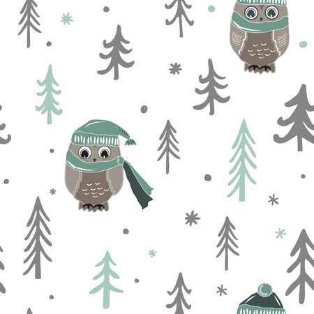 Winter Christmas forest with owls. Vector seamless pattern Illustration