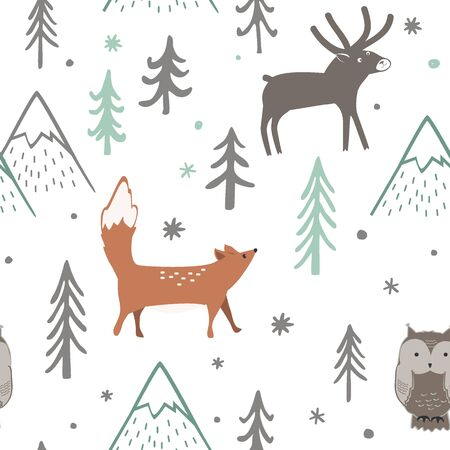 Seamless Christmas pattern with forest trees, mountains, fox, owl and deer. Happy New Year background. Xmas Vector design for winter holidays.
