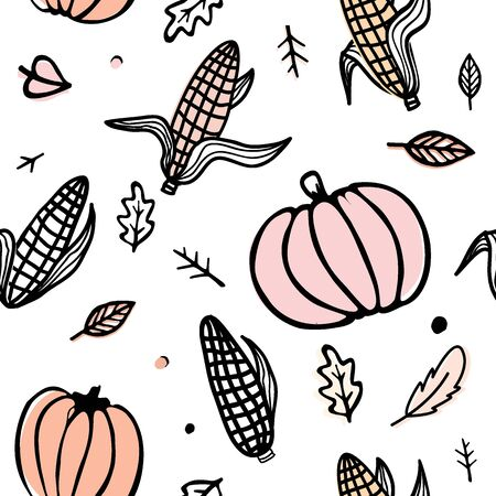 Thanksgiving day seamless pattern with corn cobs, pumpkins, and autumn leaves. Doodle vector ornament isolated on white background