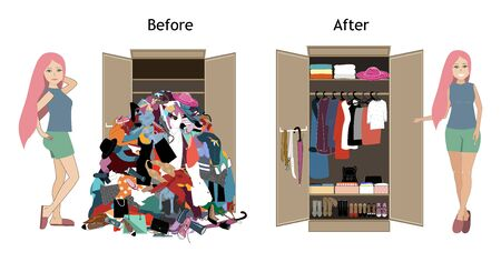 Before untidy and after tidy wardrobe with a girl. A lot of cheap, unfashionable, old messy clothes thrown out of closet and nicely arranged clothes in piles and boxes after the organization