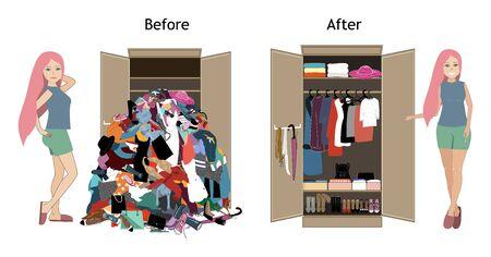 Vor dem Aufräumen und nach dem Aufräumen der Garderobe mit einem Mädchen. Viele billige, unmodische, alte, unordentliche Klamotten aus dem Schrank geworfen und schön arrangierte Klamotten in Haufen und Kisten nach der Organisation Vektorgrafik