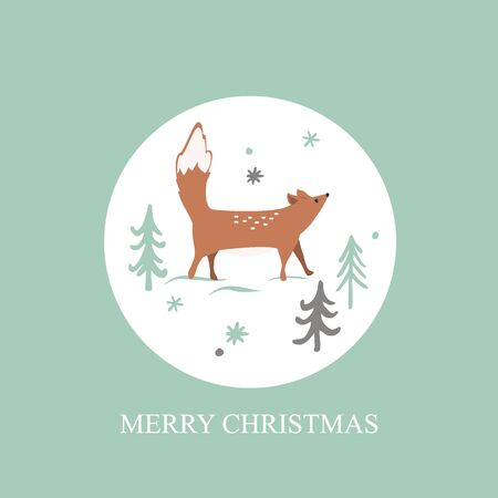 Christmas card with Winter forest background. Cute fox, trees and snowflaces. Vector illustration. Illustration
