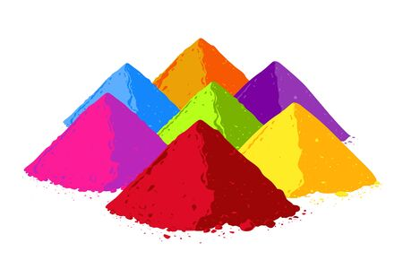 Colorful powder set. Bright paint for festive occasion of Holi in India. Isolated vector of Colorful Indian powder background  イラスト・ベクター素材