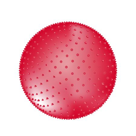 Red fitness pointed ball isolated on white background. Element of sensory integration or sport room