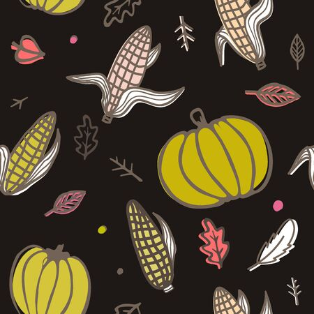 Thanksgiving day seamless pattern with corn cobs, pumpkins, and autumn leaves. Doodle vector ornament on black background Archivio Fotografico - 135381561