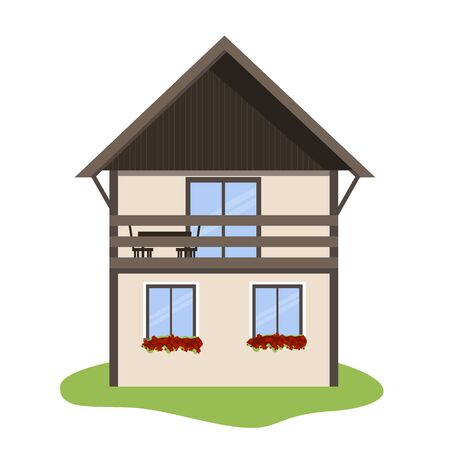 Vector illustration of Scandinavian house icon isolated on white background. Archivio Fotografico - 132141281