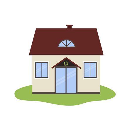 Vector illustration of cartoon house icon isolated on white background. Ilustrace