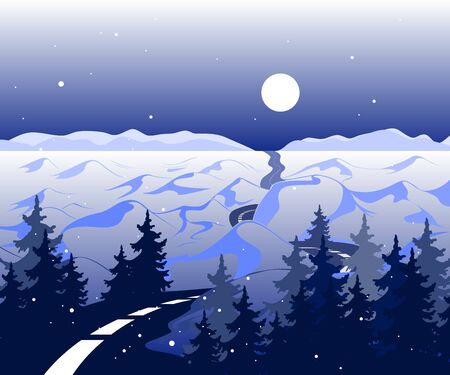 Vector winter Background with road and snowy valley with trees. The arctic landscape with mountains in the horizon with the beautiful moon Archivio Fotografico - 132139954