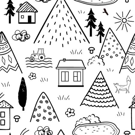 Hand drawn tribal seamless pattern with cartoon houses, trees and mountains. Creative ethnic scandinavian woodland background. Abstract line art print. Vector illustration Archivio Fotografico - 135381566