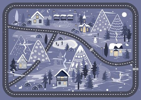 Winter road background with night landscape with village and church in the woods. Beautiful Christmas Nature with City in the Mountains. Vector illustration Archivio Fotografico - 132304633