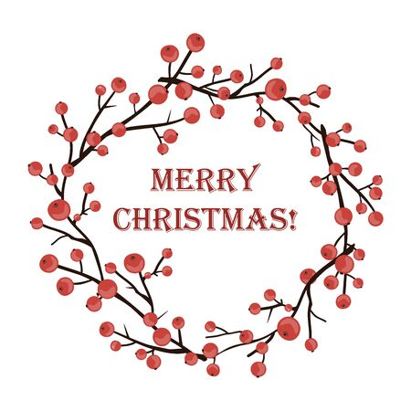 Round Christmas Vector Wreath with holly branches isolated on white. For festive design, announcements, postcards, invitations, posters.