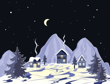 Cartoon mountains landscape with houses and trees at night. Perfect for cards, invitations, wallpaper, banners, children room decoration. Scandinavian vector background. Archivio Fotografico - 132690444