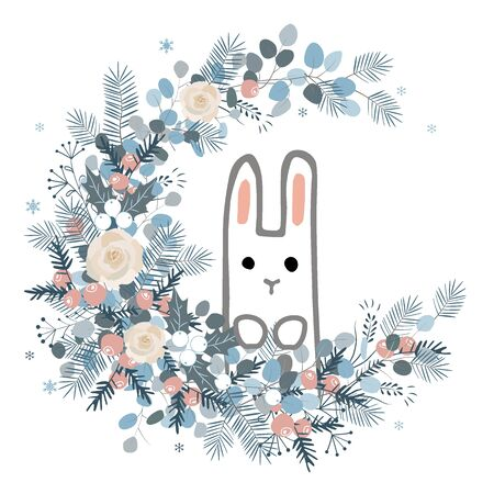 Winter wreath with roses, cones, berries, pine branches, leafs, and cute bunny. Vector illustration for postcards, calendars, posters, prints Archivio Fotografico - 135381573