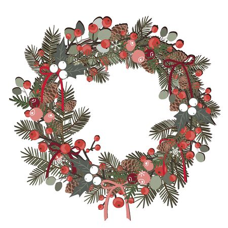 Beautiful Christmas decorative wreath of pine branches, berries, ilex, cedar and pine cones over white background. Vector illustration Ilustrace