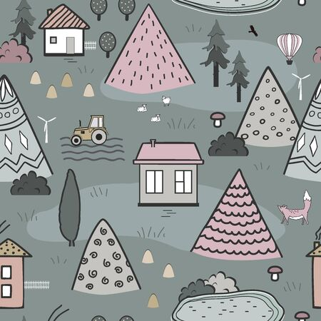 Cute doodle seamless pattern with cartoon houses, trees and mountains. Design for kids textile, floor mats, wall tapestry, or wallpapers. Summer line art landscape. Vector illustration Archivio Fotografico - 135381581