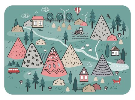 Cute Hand Drawn Scandinavian Vector Background with houses, animals, trees, and mountains. Outline nature landscape. Perfect for kids road mats, textile, wall tapestry 일러스트