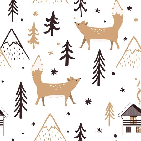 Seamless Christmas pattern with forest trees, mountains, and foxes. Happy New Year background. Xmas Vector design for winter holidays. Child drawing style forest illustration. Archivio Fotografico - 135381589