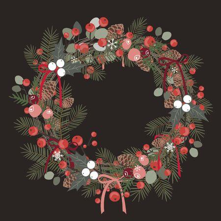 Beautiful Christmas decorative wreath of pine branches, berries, ilex, cedar and pine cones over white background. Vector illustration Archivio Fotografico - 135028018