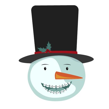 The Cute Smiling Snowman Icon with Dentist Braces. Dentistry Christmas Season Concept, Vector Illustration.