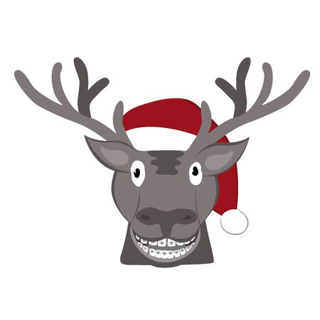 Christmas deer icon. Red hat of Santa Claus. Vector illustration. Cute cartoon deer. Isolated on white background Archivio Fotografico - 135381619