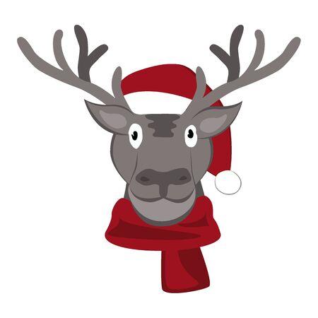 Christmas deer in Santa Claus Hat Vector Illustration. Cartoon animal icon Archivio Fotografico - 135381621